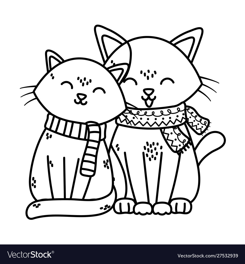 Adorable cats with scarf celebration merry