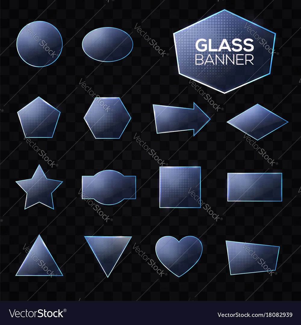 Blue glass plates set on transparent background