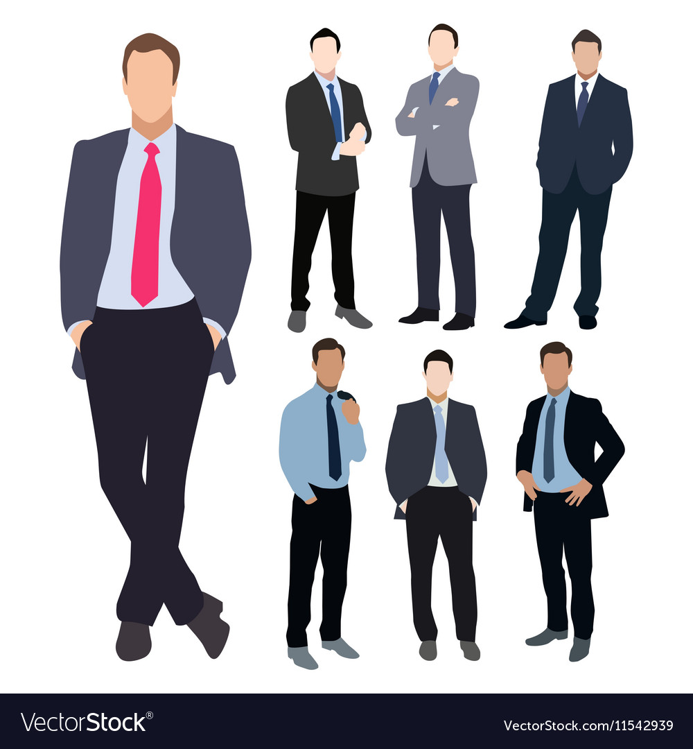 Business man silhouette set