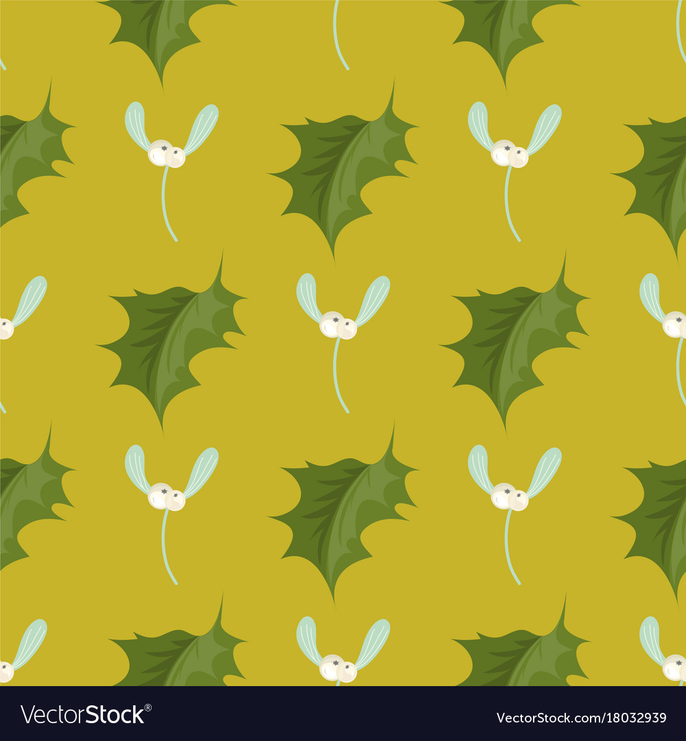 Christmas decorative leaves holly branches with