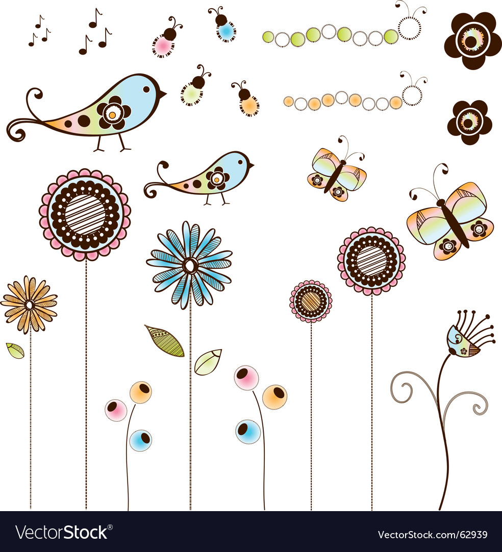 Doodle flowers and bugs set