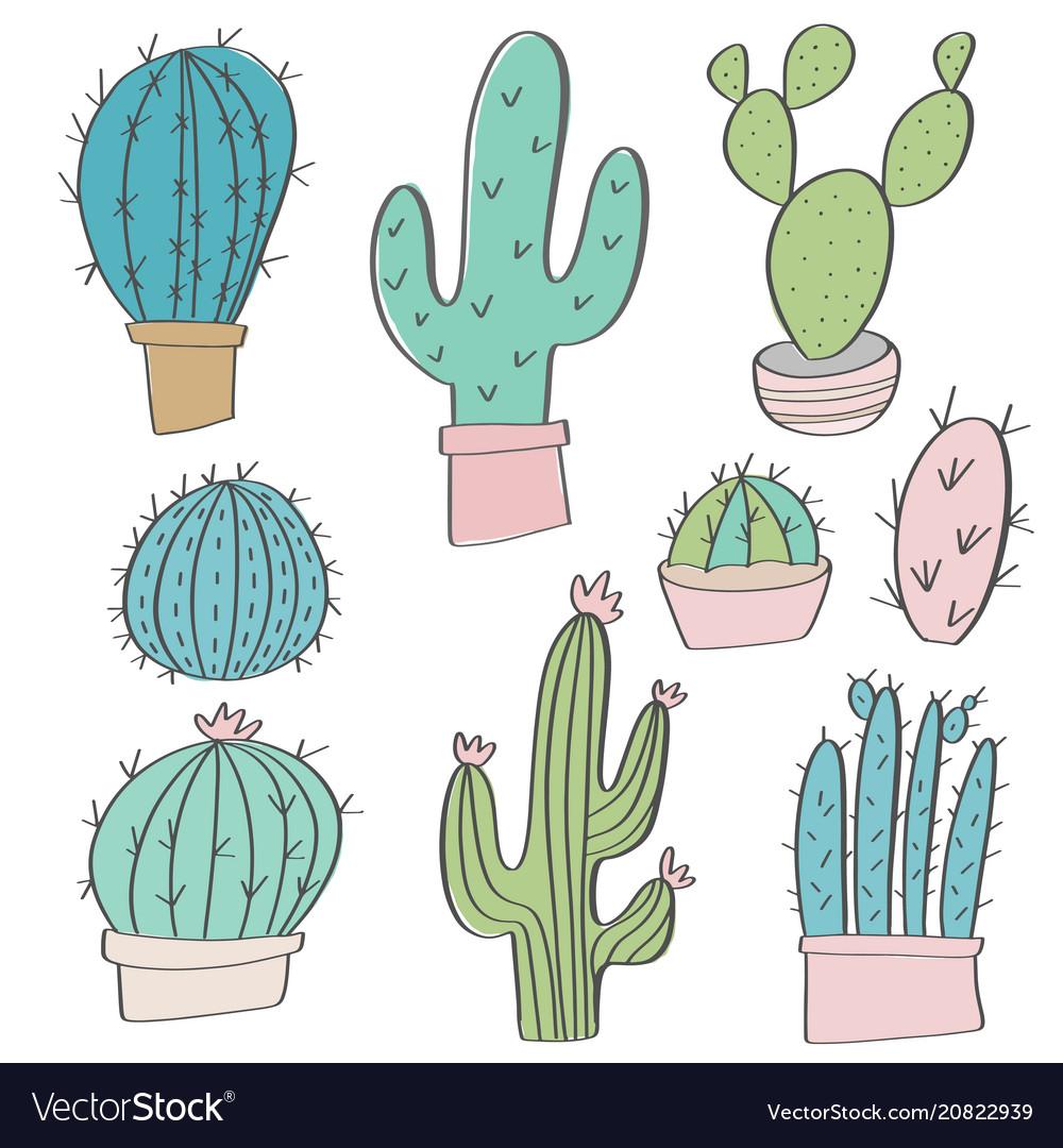 Hand drawn cactus set doodles