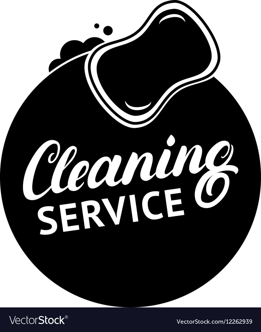 Hand written lettering Cleaning Service logo label