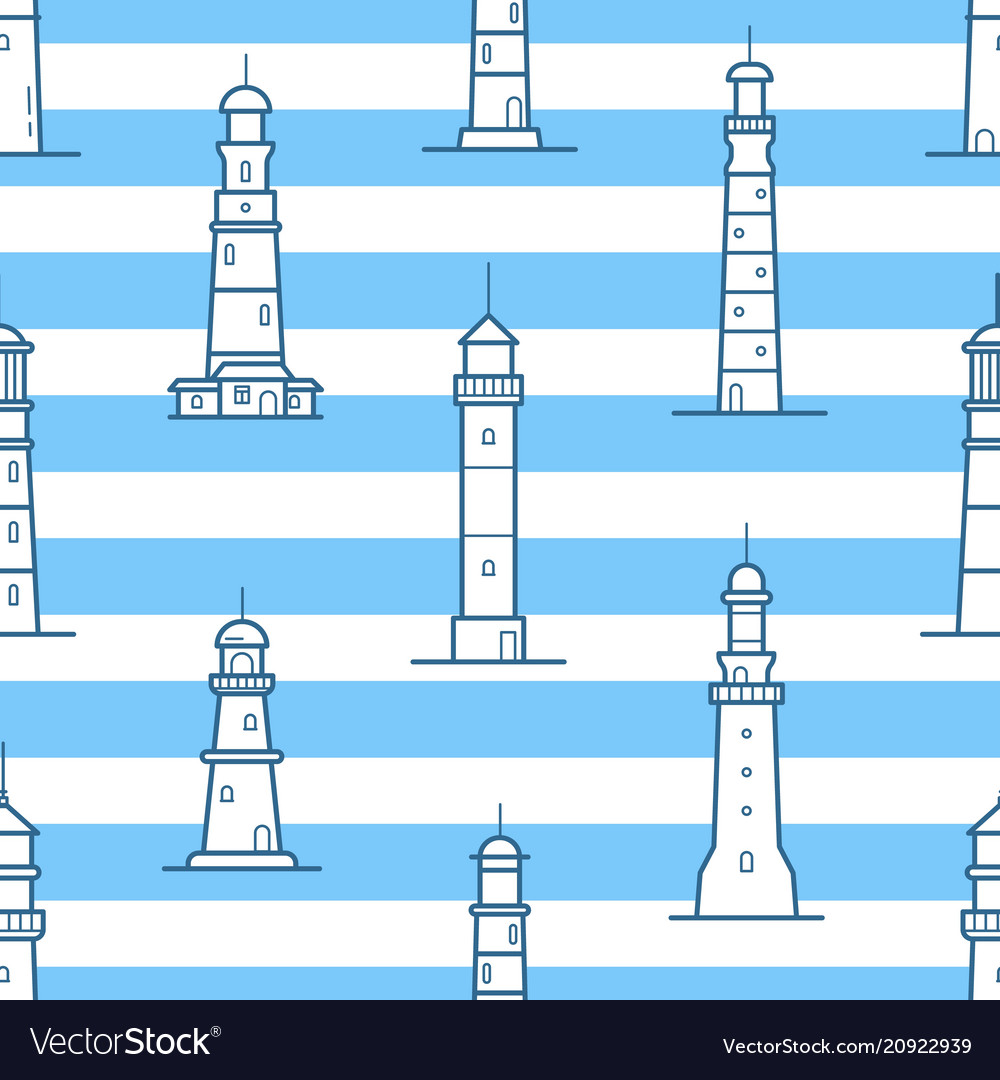 Seamless pattern with different lighthouses drawn