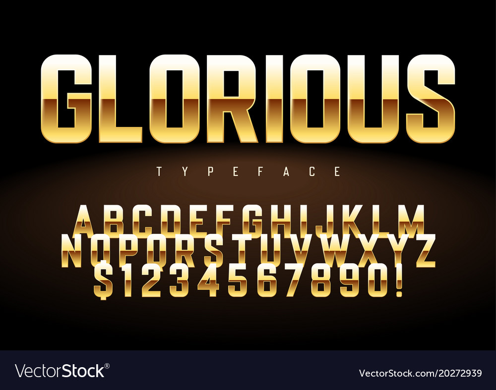 Shiny golden display font design alphabet vector image