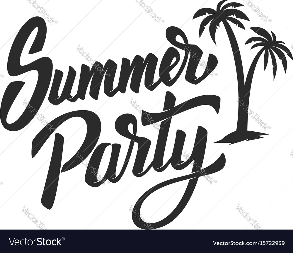 Summer party hand drawn lettering phrase isolated