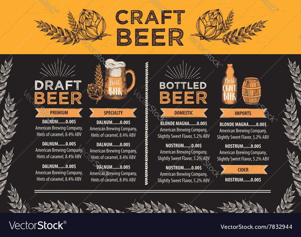 Beer restaurant cafe menu template design
