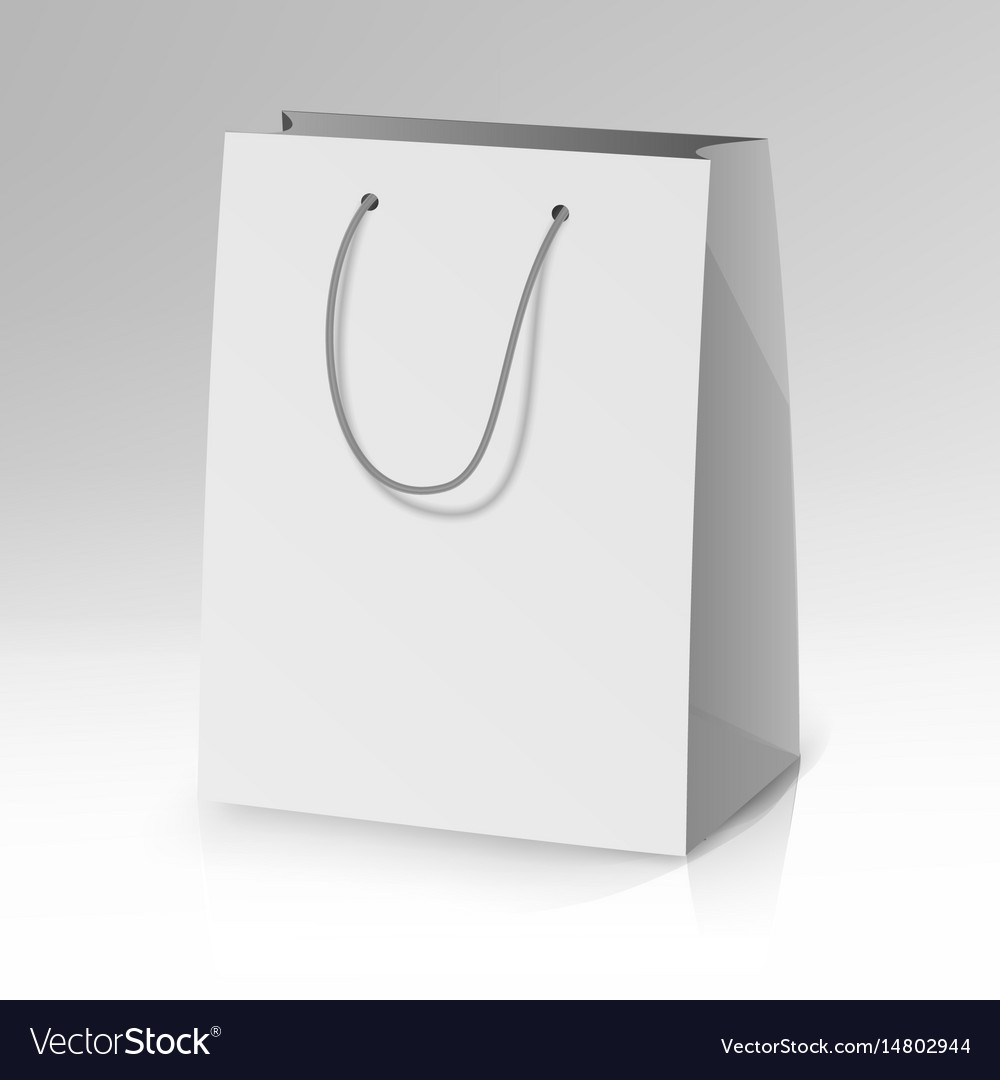 Blank paper bag template realistic Royalty Free Vector Image