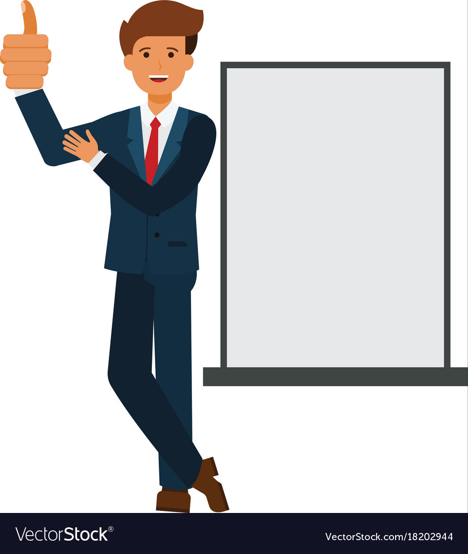 Businessman showing thumb up cartoon flat