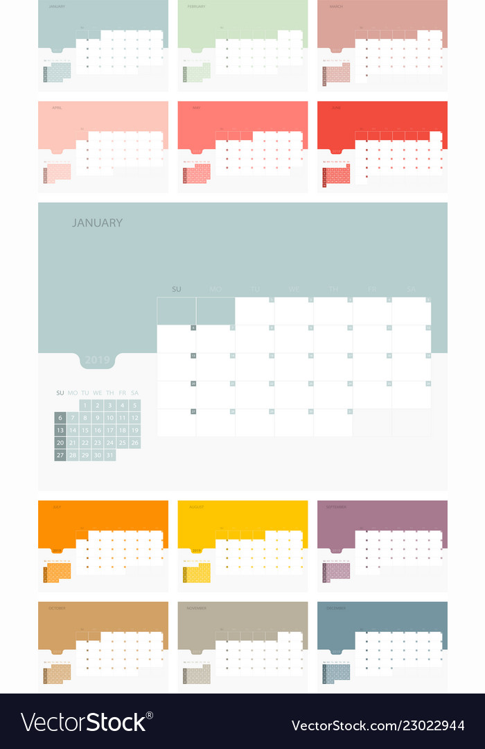 calendar design template for 2019 simple planner vector image