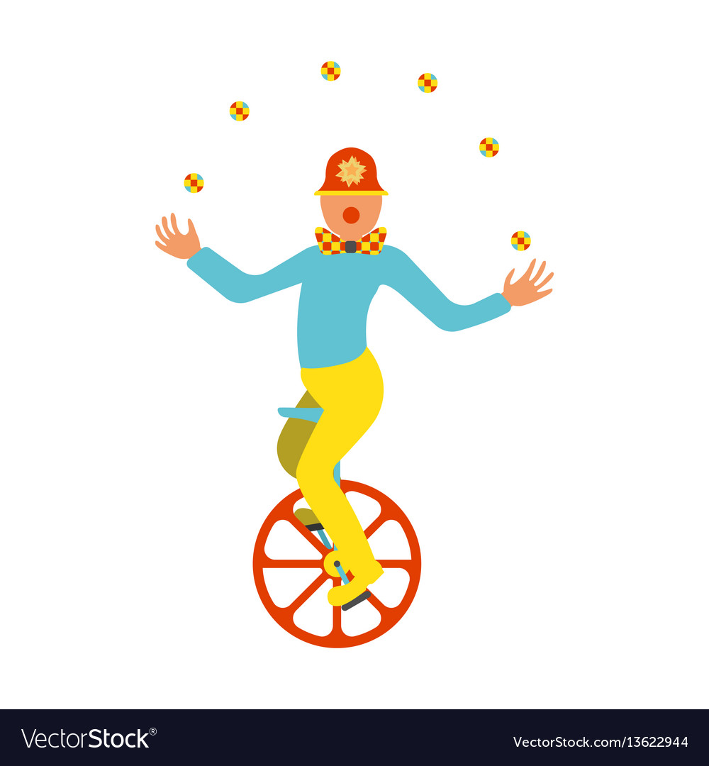 Clown juggler on a unicycle icon