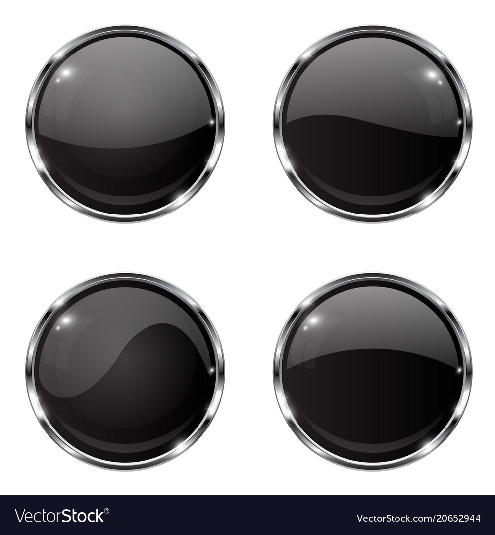Glass black buttons round 3d buttons with chrome