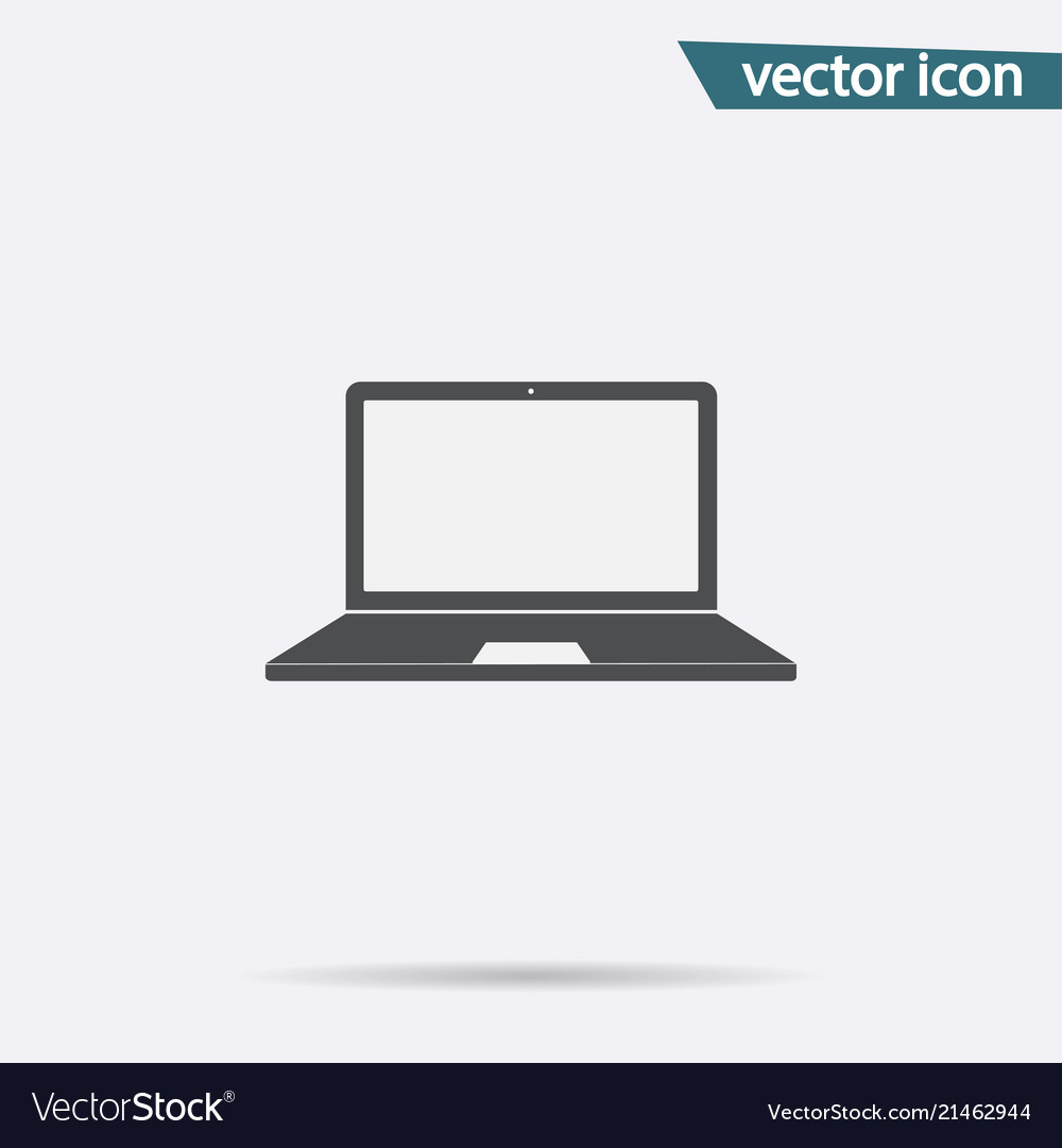 Gray laptop icon isolated on background modern fl