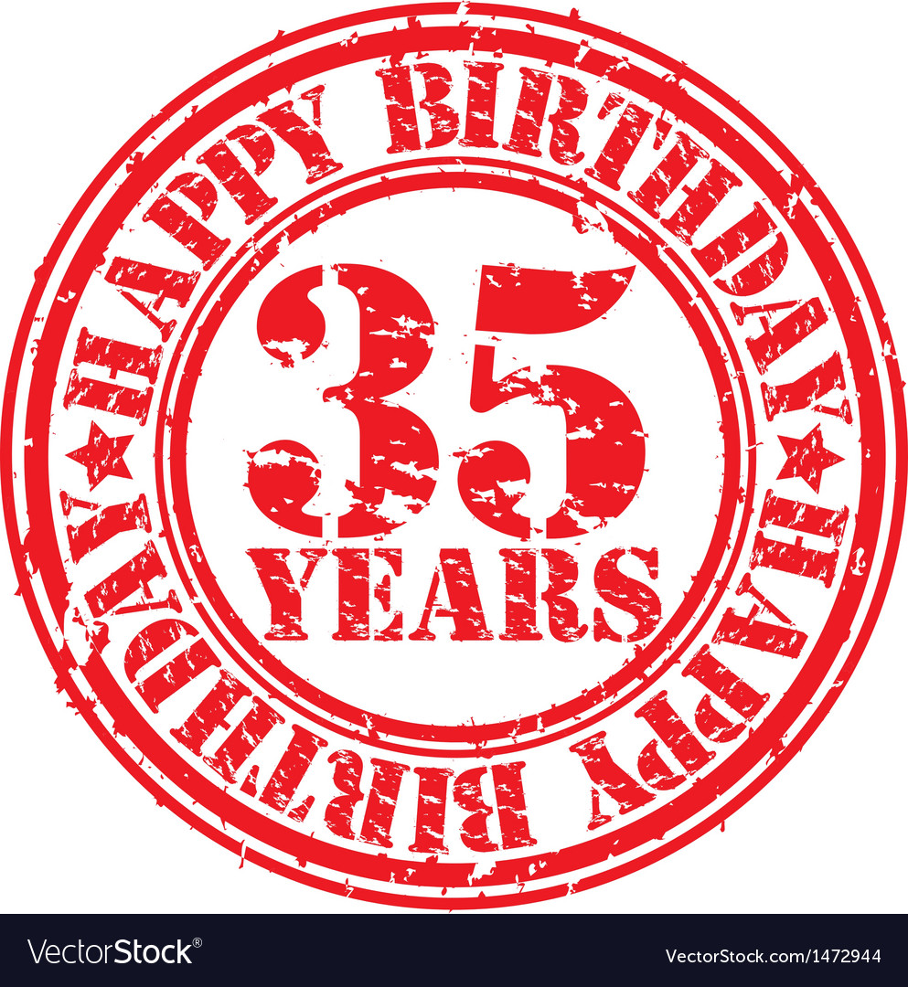 Grunge 35 years happy birthday rubber stamp