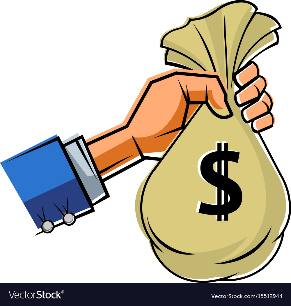 Human Hand With Cash Bag Vector Image