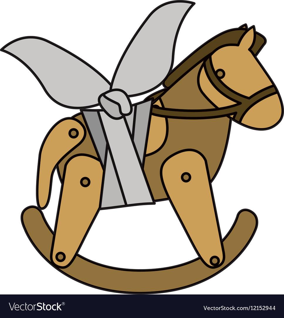 Isolated toy horse damaged design