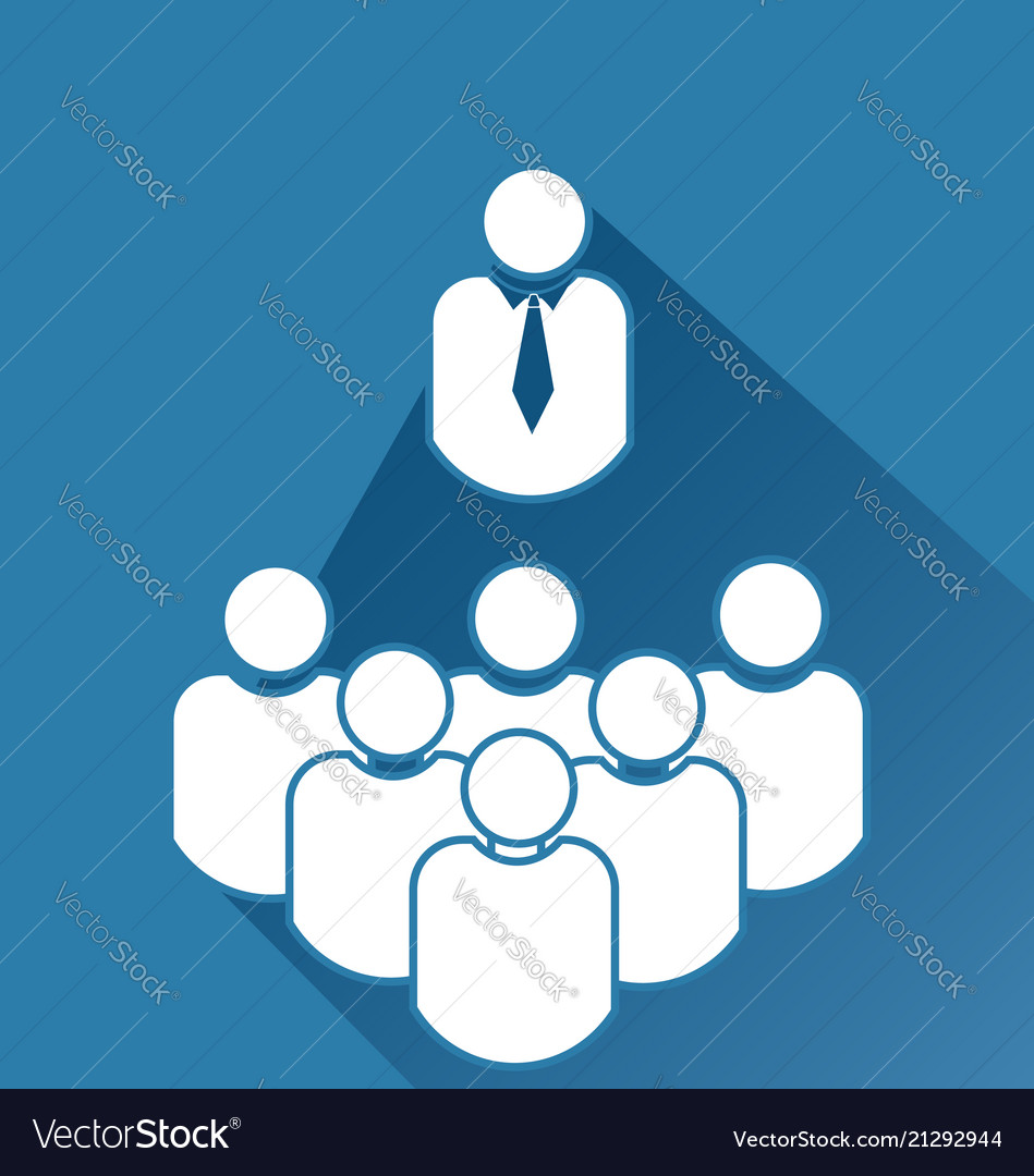 Leader and group team meeting icon