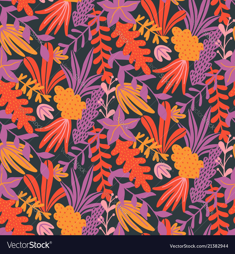 Modern seamless floral pattern with hand drawn