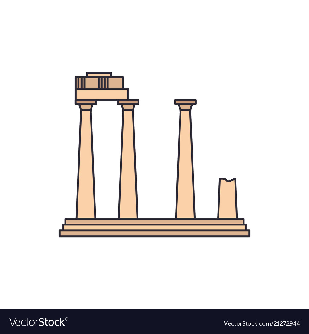 Old temple icon cartoon style