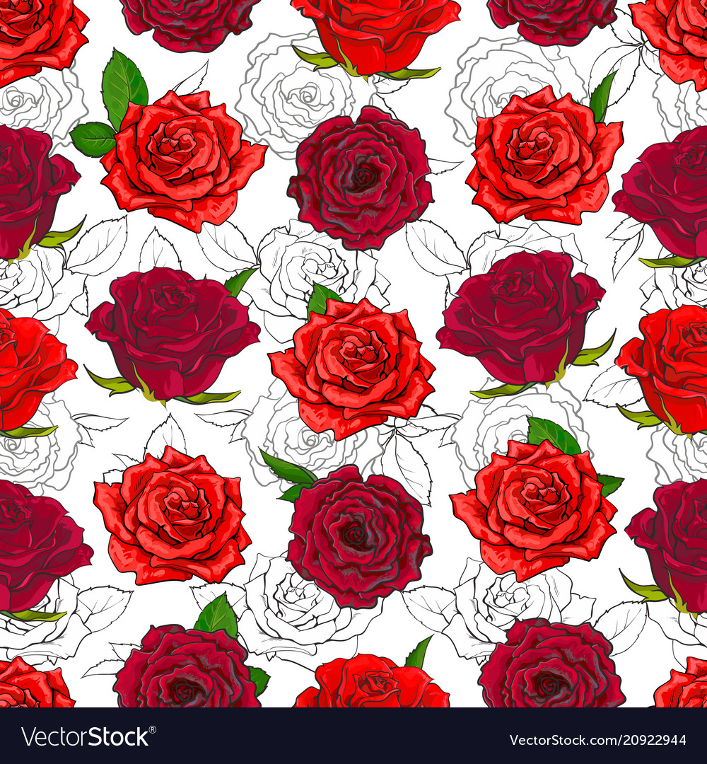 Red roses seamless pattern with hand drawn flowers