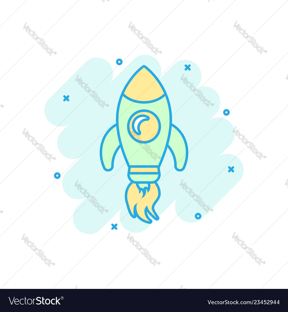 Rocket space ship icon in comic style spaceship