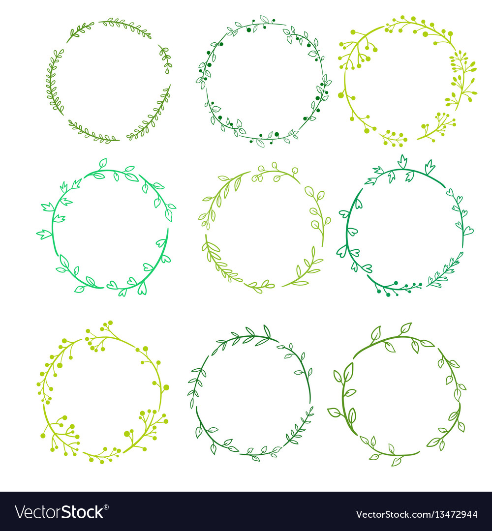 Round frames with doodle plants and twigs