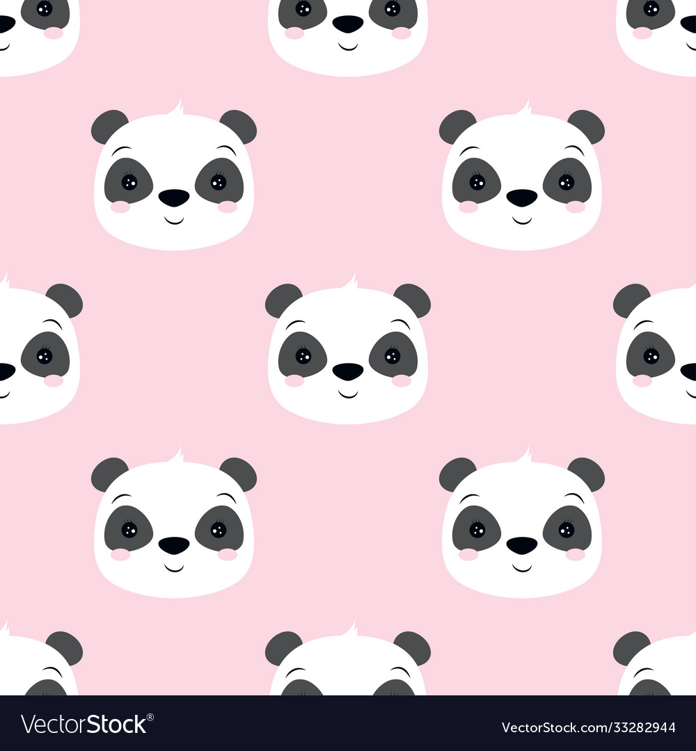 Seamless pattern with panda isolated on pink