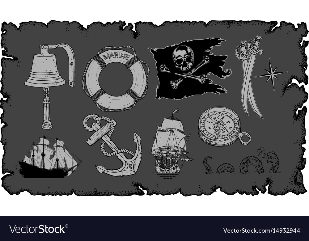 Set of drawings on the sea theme