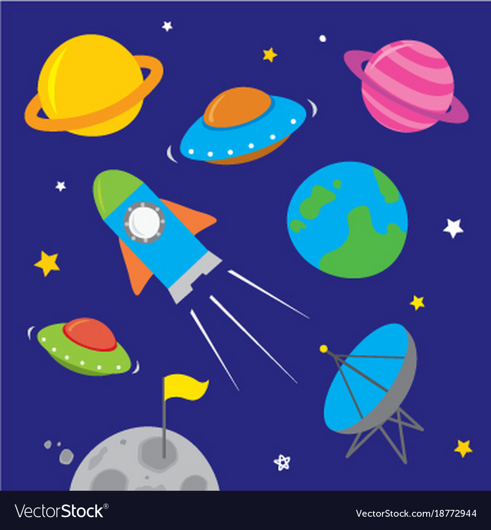Space icon planet rocket star astronaut