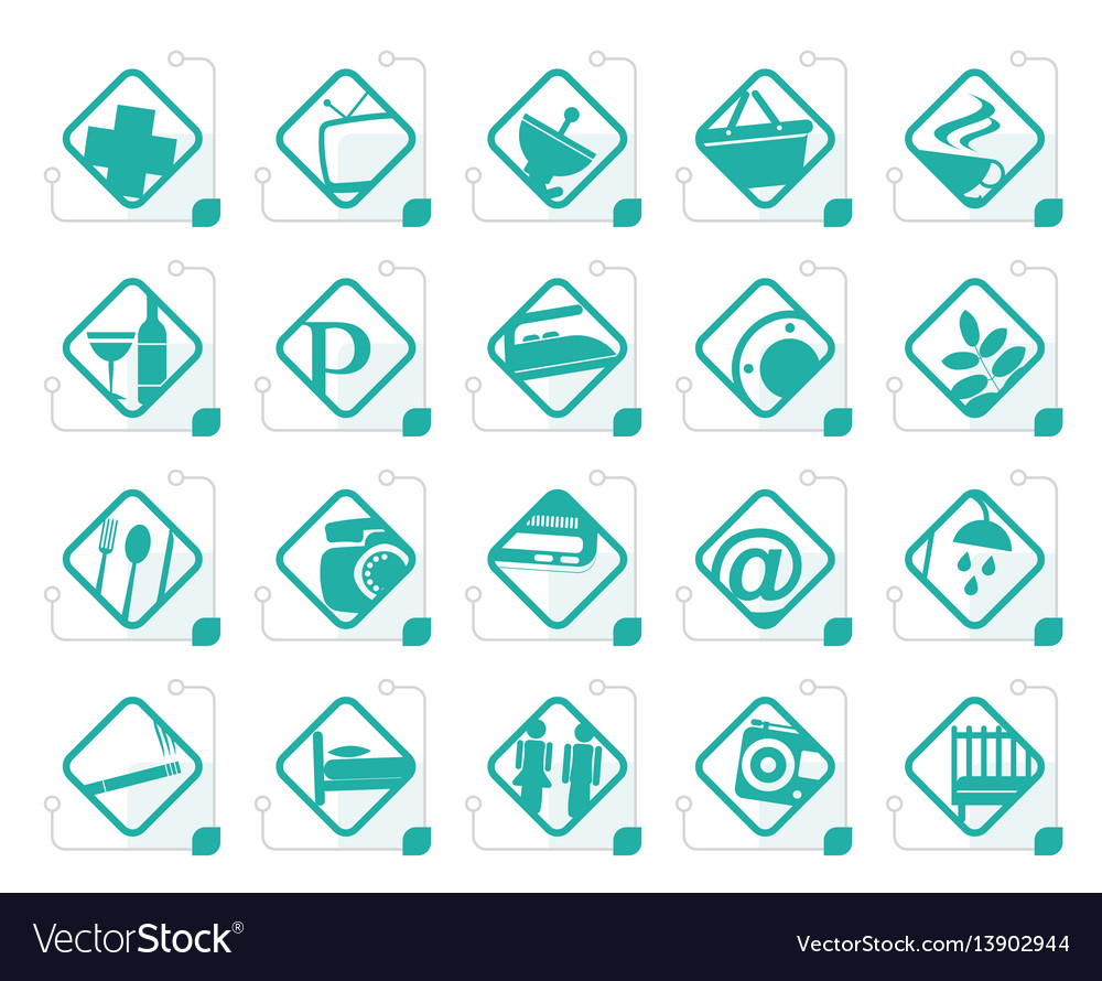 Stylized hotel and motel objects vector image