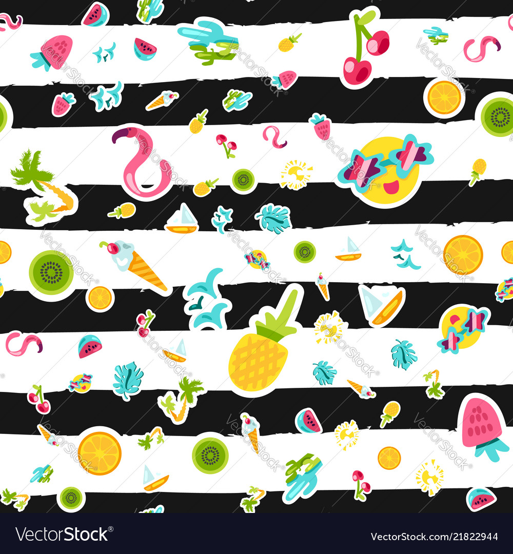 Tropical summer seamless pattern in doodles
