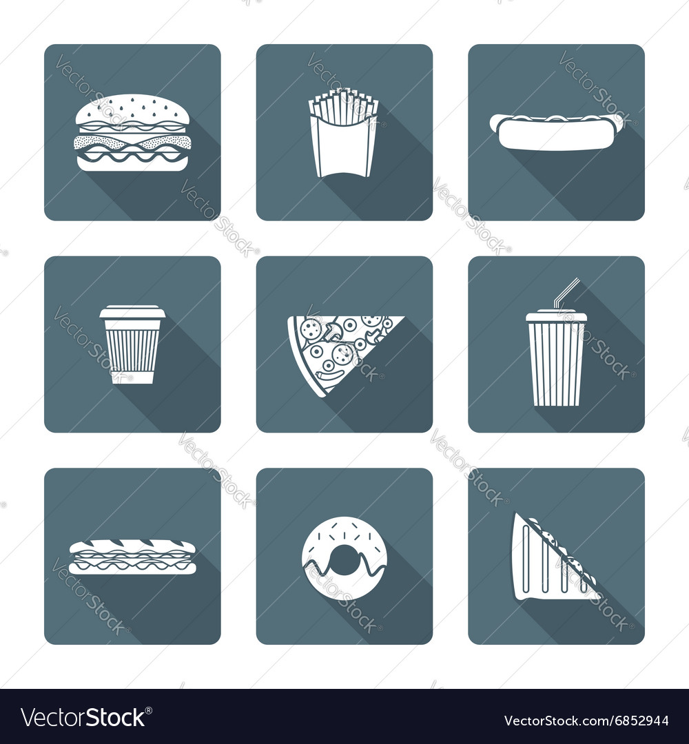 White monochrome various fast food icons vector image