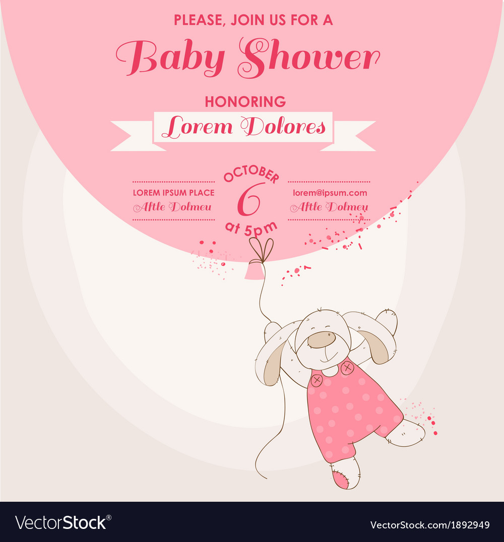 Baby Shower Card - Baby Bunny with Balloon