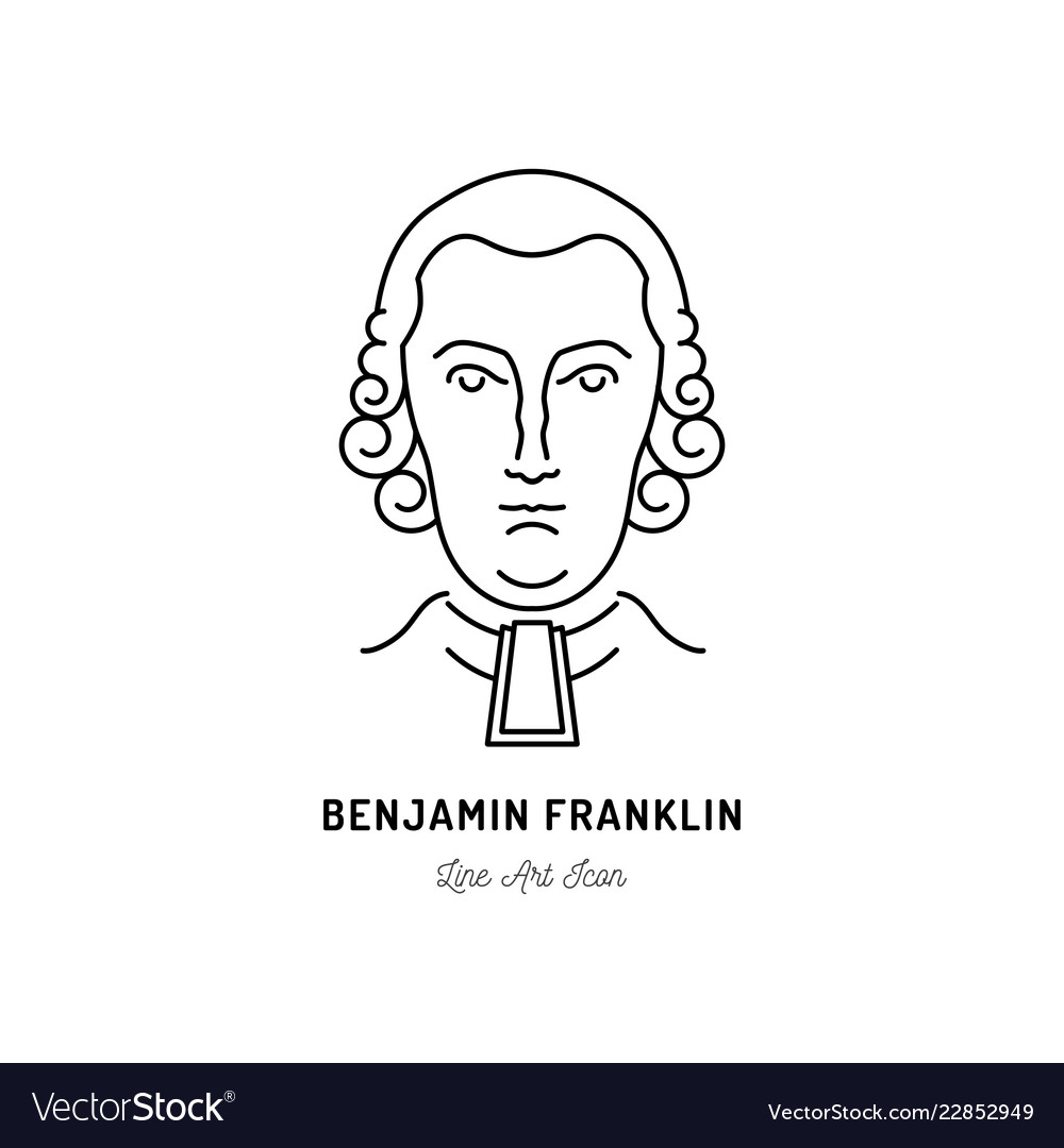 Benjamin franklin icon usa politician line art