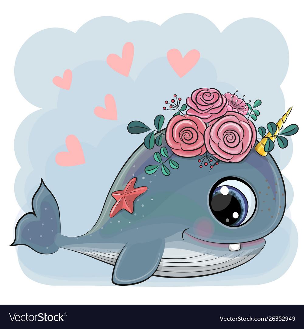 Cute cartoon whale with flowers