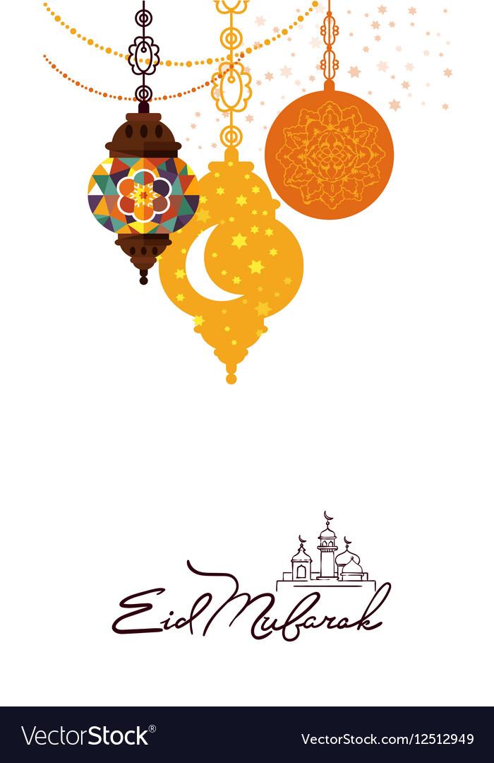 Eid Mubarak arabic muslim card design Royalty Free Vector