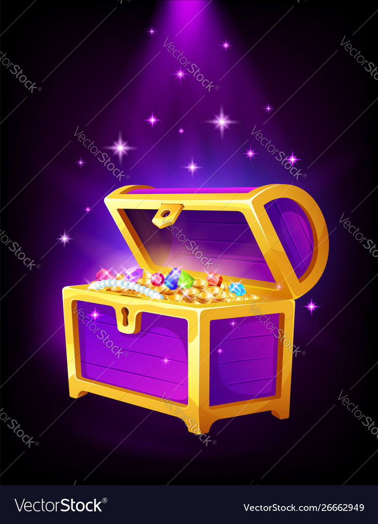 Open purple chest with golden coins and jewelry