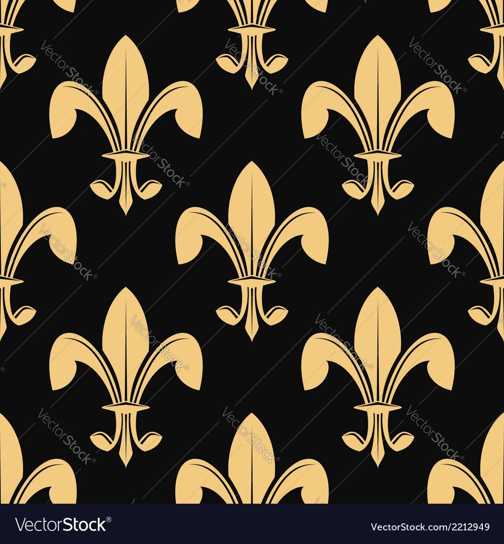 Seamless pattern of classical golden fleur de lys vector image