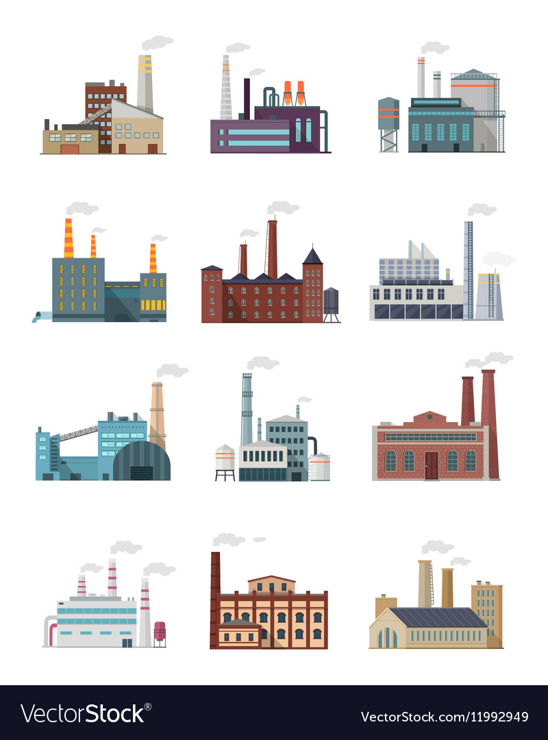 Set of Industry Manufactory Building Icons