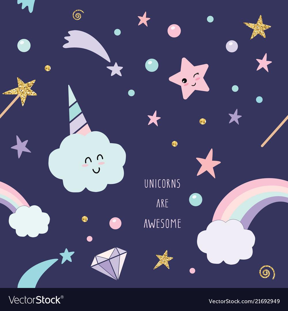 Unicorn magic seamless pattern background with