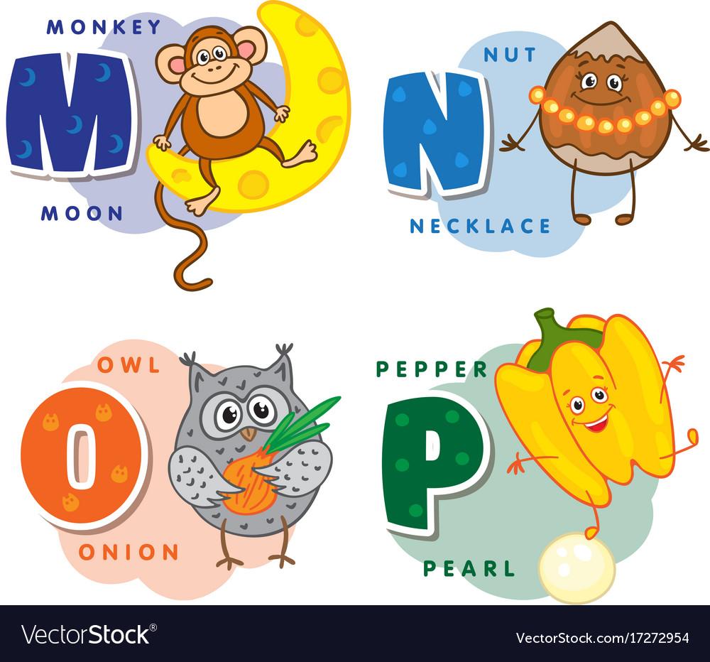 Alphabet children colored letter m n o p Vector Image