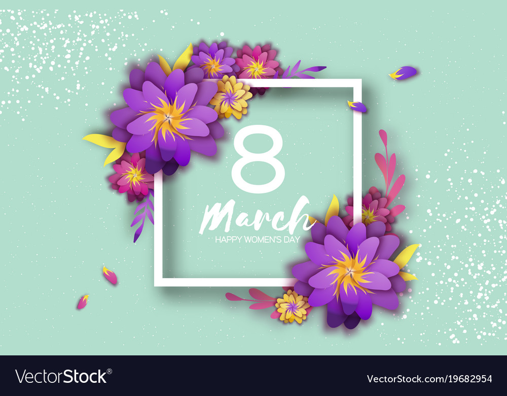 Bright violet origami flowers happy womens day 8 vector image mightylinksfo