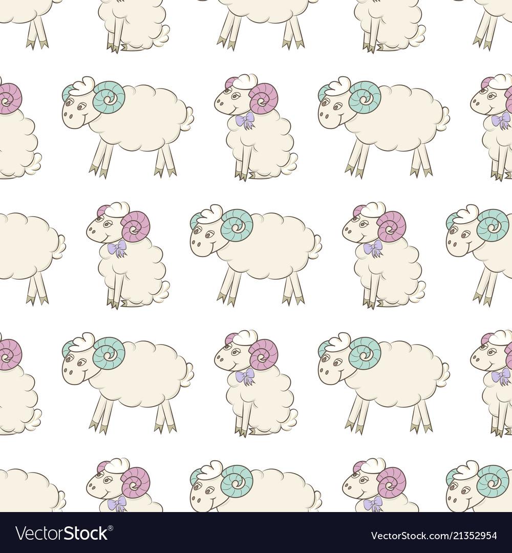 Cartoon Sheep Seamless Wallpaper Vector Image