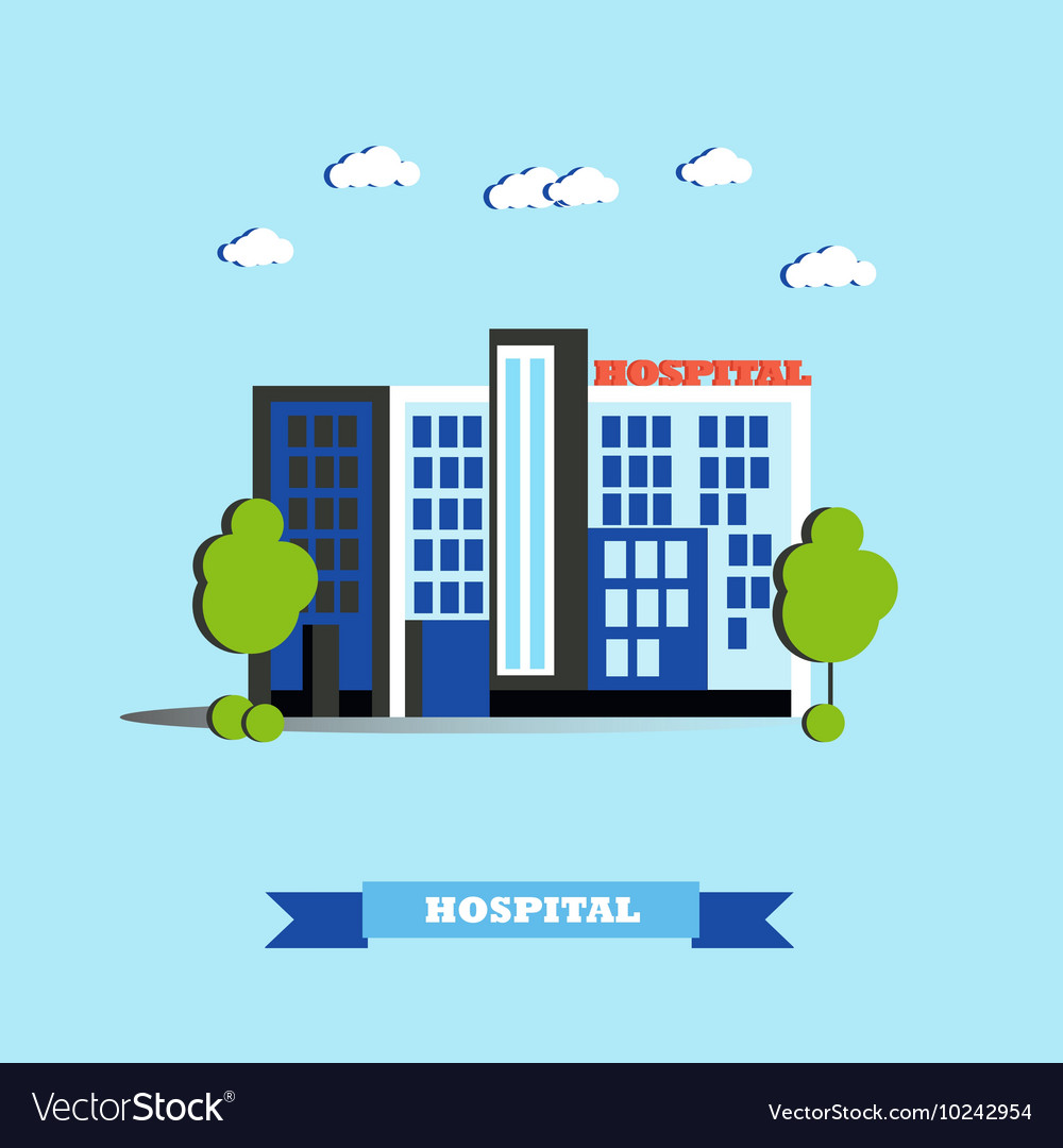 City hospital building in flat