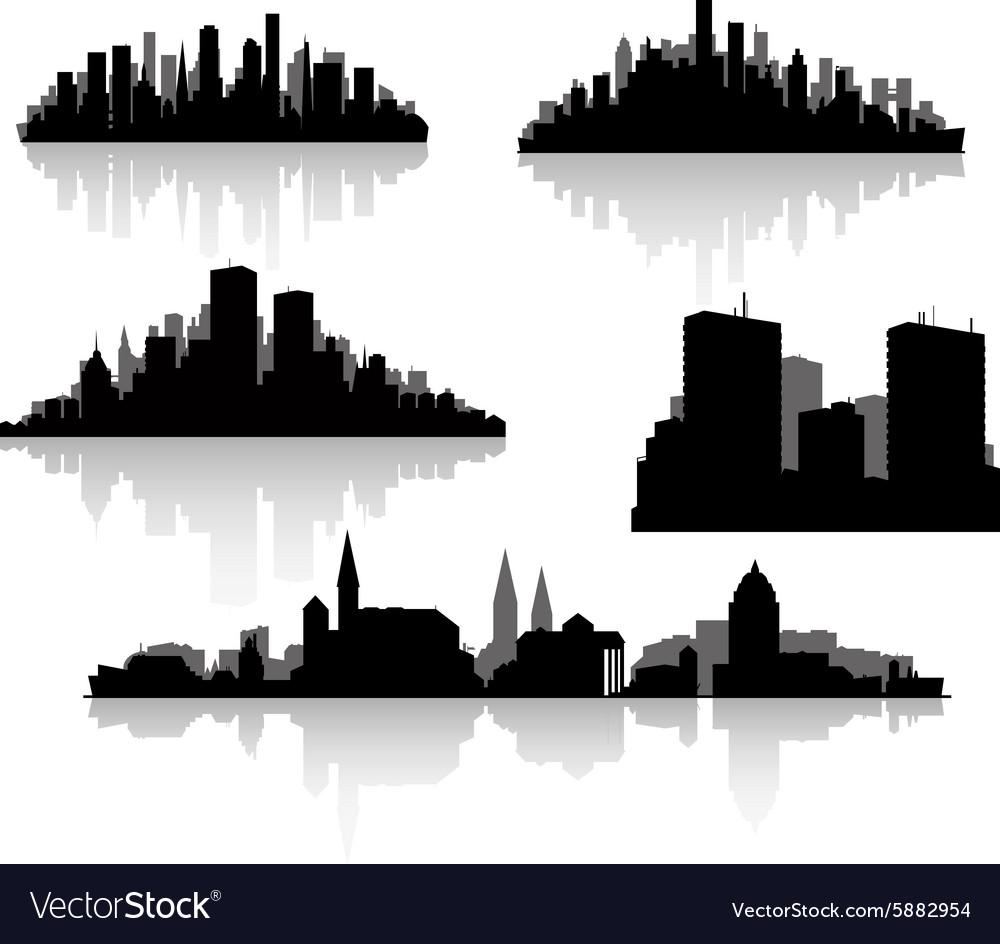 City silhouettes set
