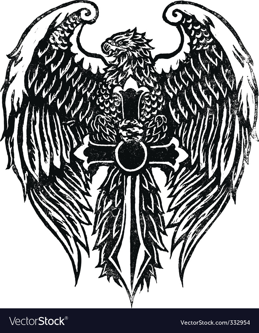 Eagle with sword stamp vector image