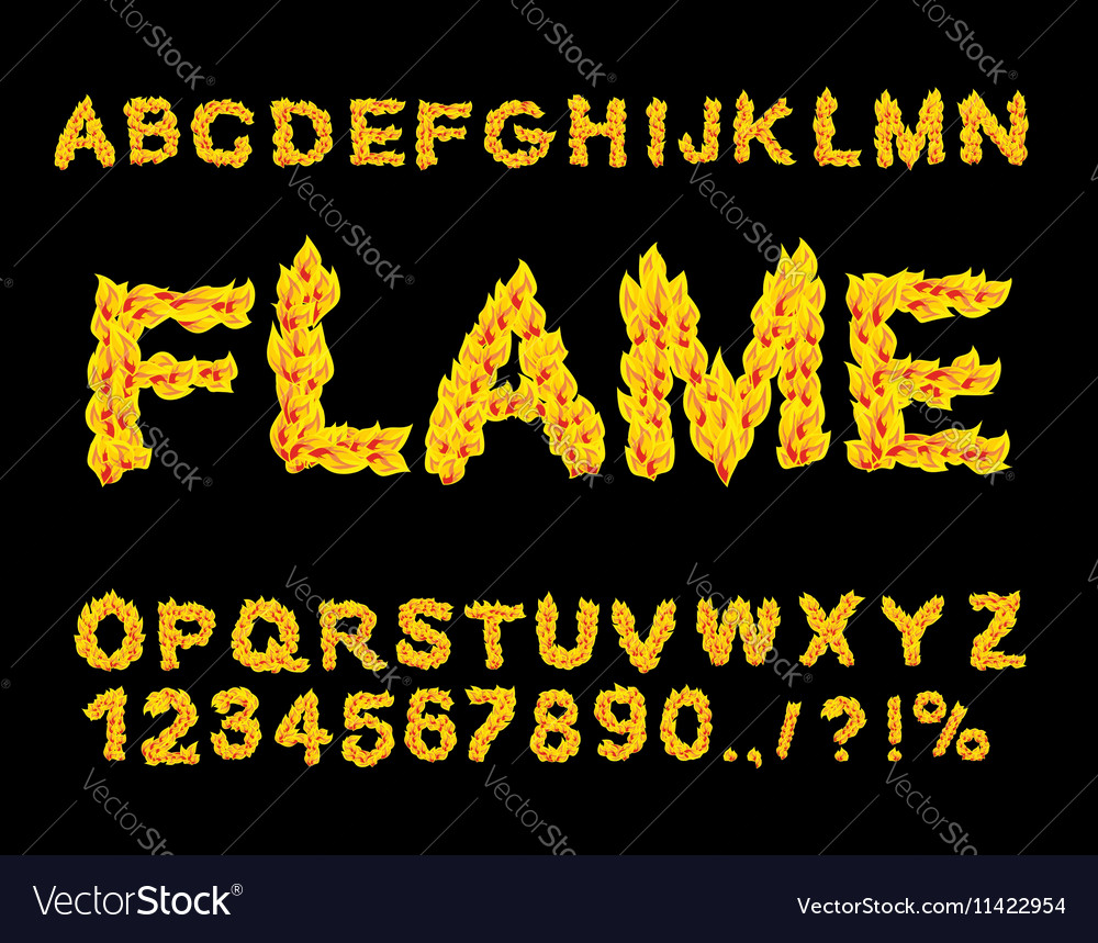 Flame Alphabet Fire Font Fiery Letters Burning Abc