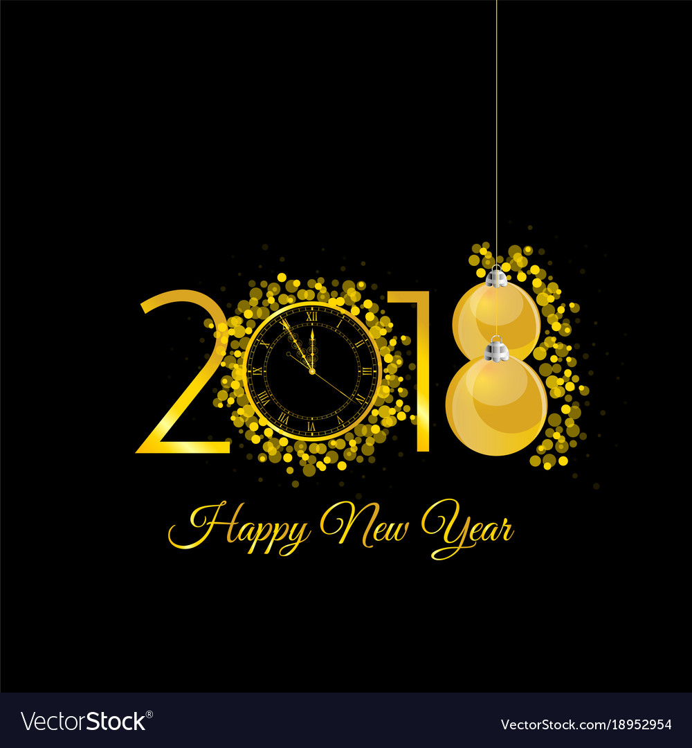 Happy new 2018 year gold with clock