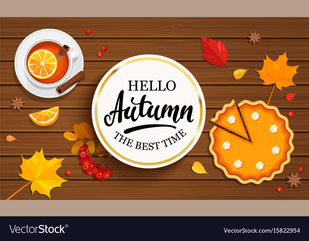 Hello autumn banner in gold frame vector image