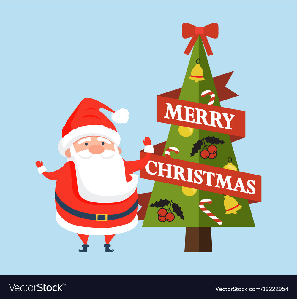 Merry christmas postcard with cute santa claus Vector Image